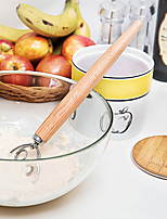 cheap -Stainless Steel Egg Beater Dough Whisk Blender Cake Bread Pastry Mixer Oak Wood Handle