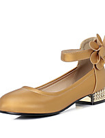 cheap -Women's Heels Chunky Heel Round Toe PU Spring &  Fall Black / Light Yellow / Beige