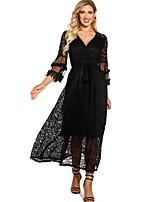 cheap -Women's A Line Dress - Solid Color Black S M L XL