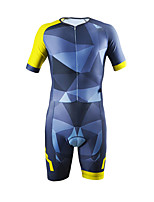 cheap -21Grams Men's Short Sleeve Triathlon Tri Suit Blue+Yellow Bike Clothing Suit UV Resistant Breathable Quick Dry Sweat-wicking Sports Graphic Mountain Bike MTB Road Bike Cycling Clothing Apparel