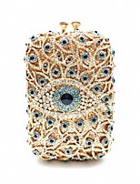 cheap -Women's Crystals / Hollow-out Alloy Evening Bag Solid Color Gold / Silver / Blue