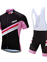 cheap -21Grams Men's Short Sleeve Cycling Jersey with Bib Shorts Polyester Pink / Black Geometic Bike Clothing Suit UV Resistant 3D Pad Quick Dry Sports Solid Color Mountain Bike MTB Road Bike Cycling