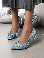 cheap -Women's Heels Stiletto Heel Pointed Toe Denim Spring &  Fall Silver / Light Blue