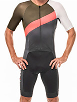 cheap -21Grams Men's Short Sleeve Triathlon Tri Suit Black / White Bike Clothing Suit UV Resistant Breathable Quick Dry Sweat-wicking Sports Solid Color Mountain Bike MTB Road Bike Cycling Clothing Apparel