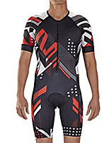 cheap -21Grams Men's Short Sleeve Triathlon Tri Suit Black / Red Dot Bike Clothing Suit UV Resistant Breathable Quick Dry Sweat-wicking Sports Dot Mountain Bike MTB Road Bike Cycling Clothing Apparel
