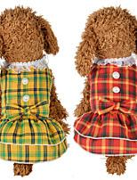 cheap -Dog Cat Dress Dog Clothes Yellow Red Costume Husky Labrador Alaskan Malamute Polyester Cotton Plaid / Check Bowknot Leisure Sweet XS S M L XL