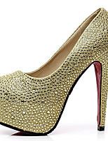 cheap -Women's Heels Stiletto Heel Peep Toe Rhinestone Synthetics Sweet / Minimalism Summer / Spring & Summer Black / Gold / Silver / Wedding / Party & Evening