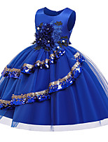 cheap -Princess Dress Flower Girl Dress Girls' Movie Cosplay A-Line Slip Cosplay Purple / Dark Green / Red Dress Halloween Carnival Masquerade Polyester Sequin
