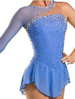 cheap -Figure Skating Dress Women's Girls' Ice Skating Dress Sky Blue Patchwork Spandex High Elasticity Training Competition Skating Wear Crystal / Rhinestone Long Sleeve Ice Skating Figure Skating