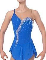 abordables -Robe de Patinage Artistique Femme Fille Patinage Robes Bleu Mosaïque Spandex Haute élasticité Entraînement Compétition Tenue de Patinage Cristal / Stras Sans Manches Patinage sur glace Patinage