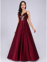cheap -A-Line Spaghetti Strap Floor Length Satin Empire / Red Engagement / Prom / Wedding Guest Dress 2020 with Sequin