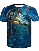 cheap -Black Men's Skull 3D Creative Digital Printing T-shirt Man Summer Short Sleeve O Neck Shirt