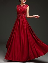 cheap -A-Line Jewel Neck Floor Length Polyester Elegant Formal Evening / Holiday Dress 2020 with Appliques
