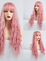 cheap -Synthetic Wig Bangs Matte Water Wave Lily Neat Bang Wig Long Pink Synthetic Hair 28 inch Women's curling Pink