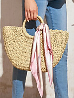 cheap -Women's Straw Top Handle Bag Solid Color Beige