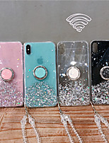 cheap -Case For Apple iPhone 11 / iPhone 11 Pro / iPhone 11 Pro Max Flowing Liquid / Ring Holder Back Cover Glitter Shine TPU