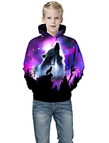 cheap -Kids Boys' Active Punk & Gothic Color Block 3D Animal Long Sleeve Hoodie & Sweatshirt Purple