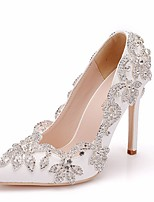 cheap -Women's Wedding Shoes Crystal Sandals Stiletto Heel Pointed Toe PU Spring & Summer White