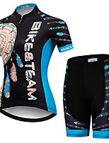 cheap -21Grams Women's Short Sleeve Cycling Jersey with Shorts Black / Blue Retro Bike Clothing Suit Breathable Quick Dry Ultraviolet Resistant Sweat-wicking Sports Retro Mountain Bike MTB Road Bike Cycling