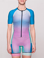 cheap -21Grams Women's Short Sleeve Triathlon Tri Suit Blue+Pink Bike Clothing Suit UV Resistant Breathable Quick Dry Sweat-wicking Sports Horizontal Stripes Mountain Bike MTB Road Bike Cycling Clothing