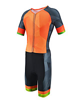cheap -21Grams Men's Short Sleeve Triathlon Tri Suit Black / Orange Gradient Bike Clothing Suit UV Resistant Breathable Quick Dry Sweat-wicking Sports Gradient Mountain Bike MTB Road Bike Cycling Clothing