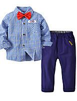 cheap -Kids Toddler Boys' Basic Special Occasion Performance Blue & White Plaid Long Sleeve Regular Regular Clothing Set Blue