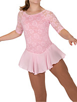 cheap -Figure Skating Dress Women's Girls' Ice Skating Dress Pink Spandex High Elasticity Training Competition Skating Wear Patchwork Half Sleeve Ice Skating Figure Skating