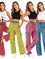 cheap -Women's Yoga Pants Drawstring Pocket Stripes Yellow Navy Blue Red Fuchsia Cotton Dance Fitness Gym Workout Bottoms Sport Activewear Breathable Quick Dry Soft Loose