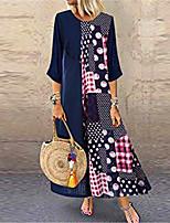 cheap -Female Swing Dress - Printing Navy Blue S M L XL
