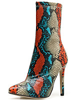 cheap -Women's Boots Stiletto Heel Pointed Toe Synthetics Mid-Calf Boots British / Minimalism Winter / Fall & Winter Rainbow / Party & Evening