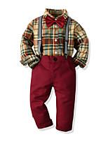 cheap -Kids Toddler Boys' Basic Birthday Party Party & Evening Houndstooth Long Sleeve Regular Regular Clothing Set Wine