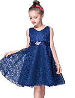 cheap -Kids Girls' Sweet Cute Solid Colored Lace Bow Sleeveless Midi Dress Black