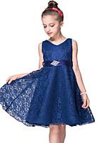 cheap -Kids Girls' Sweet Cute Solid Colored Lace Bow Sleeveless Midi Dress Black