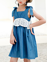 cheap -Kids Girls' Cute Street chic Solid Colored Patchwork Sleeveless Above Knee Dress Blue