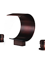 cheap -Bathroom Sink Faucet - Waterfall Oil-rubbed Bronze Widespread Two Handles Three HolesBath Taps