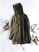 cheap -Women's Holiday / Going out Basic Fall & Winter Regular Coat, Color Block Sun Flower V Neck Long Sleeve Faux Linen Print Black