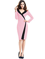 cheap -The Marvelous Mrs. Maisel Retro Vintage 1950s Wasp-Waisted Dress Women's Cotton Costume Blushing Pink / Burgundy / Royal Blue Vintage Cosplay Party Daily Wear Long Sleeve Midi