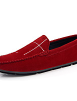 cheap -Men's Comfort Shoes Pigskin Spring & Summer / Fall & Winter Casual Loafers & Slip-Ons Non-slipping Striped Black / Wine / Orange
