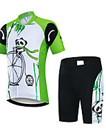 cheap -21Grams Boys' Short Sleeve Cycling Jersey with Shorts - Kid's Black / Green Panda Bike Clothing Suit UV Resistant Breathable Quick Dry Sweat-wicking Sports Panda Mountain Bike MTB Road Bike Cycling