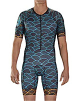 cheap -21Grams Men's Short Sleeve Triathlon Tri Suit Blue Bike Clothing Suit UV Resistant Breathable Quick Dry Sweat-wicking Sports Graphic Mountain Bike MTB Road Bike Cycling Clothing Apparel / Stretchy