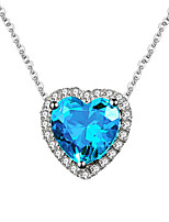cheap -Women's Blue Synthetic Sapphire Pendant Necklace Earrings Open Ring Heart Stylish Unique Design Platinum Plated Earrings Jewelry Silver For Wedding Engagement Gift Festival 1 set