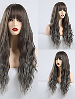 cheap -Synthetic Wig Bangs Matte Water Wave Lily Neat Bang Wig Long Grey Synthetic Hair 26 inch Women's Fashionable Design Party curling Gray