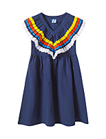 cheap -Kids Girls' Boho Sophisticated Color Block Patchwork Sleeveless Midi Dress Navy Blue