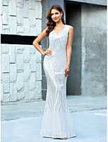 cheap -Mermaid / Trumpet V Neck Floor Length Polyester Sparkle / Minimalist Engagement / Formal Evening Dress 2020 with Sequin