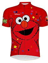 cheap -21Grams Men's Short Sleeve Cycling Jersey 100% Polyester Red Cartoon Bird Bike Jersey Top Mountain Bike MTB Road Bike Cycling UV Resistant Breathable Quick Dry Sports Clothing Apparel / Stretchy