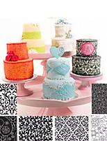 cheap -6pcs/set Flowers DIY Cake Mold Transparent Plastic Texture Mold Fondant Stamp Mold