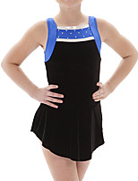 cheap -Figure Skating Dress Women's Girls' Ice Skating Dress Black Patchwork Spandex High Elasticity Training Competition Skating Wear Crystal / Rhinestone Sleeveless Ice Skating Figure Skating