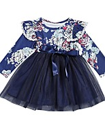 cheap -Kids Girls' Floral Dress Navy Blue
