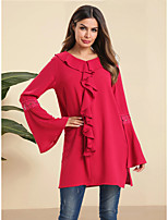 cheap -Women's Daily Work Basic / Elegant Blouse - Solid Colored Patchwork Red