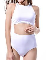 cheap -Women's Basic White Halter Cheeky High Waist Bikini Tankini Swimwear - Solid Colored Racerback S M L White